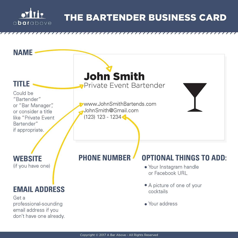Mobile Bartender Business Card Tips