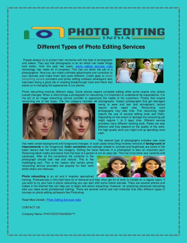 Different Types Of Photo Editing Services